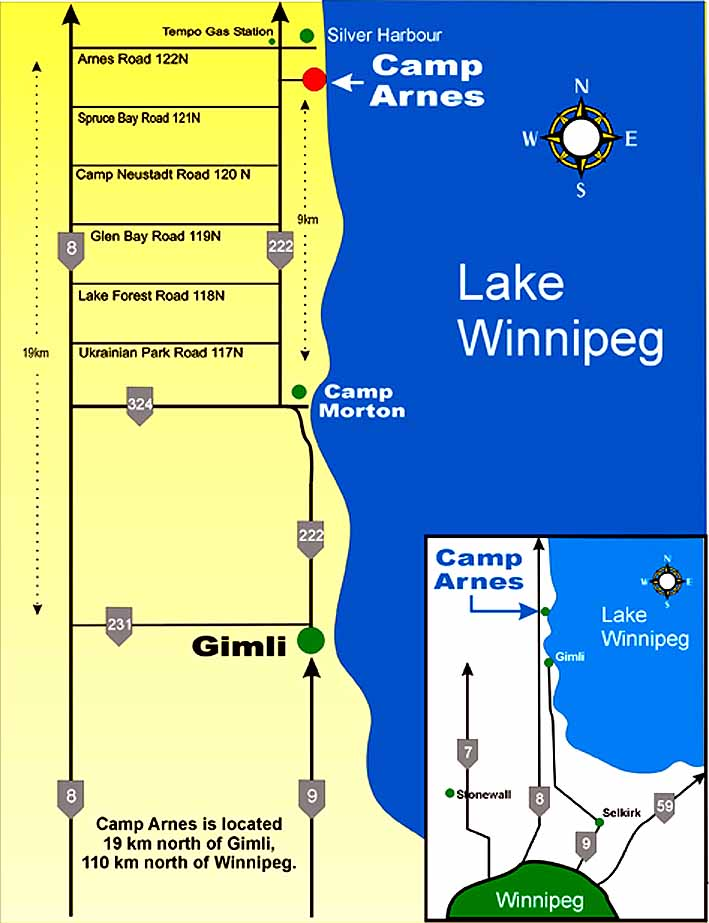 Driving Directions to Camp Arnes on san francisco directions, montreal directions, maligne lake directions, snow lake directions,